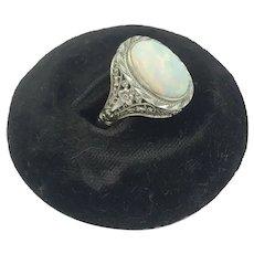 Edwardian Opal White Gold Antique 10K White Gold Filigree Ring