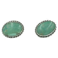 Sterling Silver Native American Turquoise Screw Back Earrings