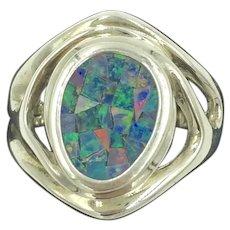 Opal Mosaic Sterling Silver Inlaid Gemstone Ring