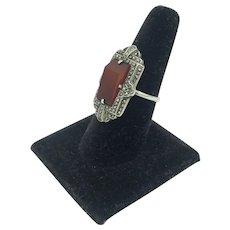 Art Deco Carnelian Marcasite Sterling Silver Geometric Asymmetrical Gemstone Ring