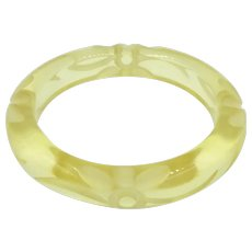Vintage Prystal Bakelite Carved Floral Flower Bangle Bracelet