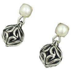 Sterling Silver Ann King Pearl Vintage Artisan Earrings