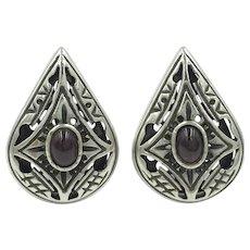 Garnet Sterling Silver Gemstone Post Pierced Clip Earrings