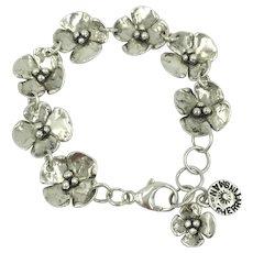Sherry Tinsman Sterling Silver Dogwood Flower Artisan Designer Adjustable Link Bracelet