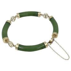 14K Rose Gold Jade 1950's Mid Century Asian Bracelet