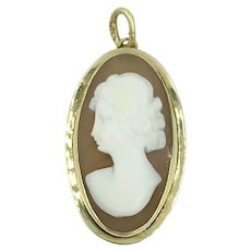 14K Gold Cameo Pendant Charm Woman's Profile with Flower in Hair