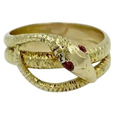 Snake 14K Yellow Gold Ruby Eye Band Serpent Ring