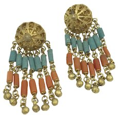 Coral Egyptian Revival 1920's Art Deco Brass Filigree Faience Bead Clip Earrings