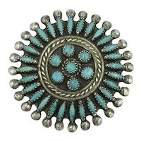 Zuni Native American Pueblo Turquoise Sterling Silver Old Pawn Brooch Pin