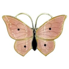 Mid Century Sterling Silver Pink & Black Enamel Butterfly Norway Pin Brooch