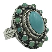 Turquoise Poison Ring  Leaf Silver Gemstone Mexico Ring