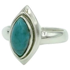 Turquoise Sterling Silver Bezel Set Marquise Cabochon Gemstone Ring