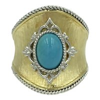14K Yellow Gold White Gold Turquoise Cabochon Gemstone Vintage Florentine NSEW Ring
