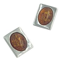 Sterling Silver Baltic Amber Oval Cabochon Gemstone Frame Clip Earrings
