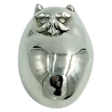 Vintage Sterling Silver Fat Cat Pin Kitty Figural Brooch Museum Fine Arts Signed MFA