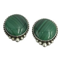 Vintage Sterling Silver Green Malachite Gemstone Clip Earrings