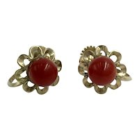 18K Red Coral Yellow Gold Oxblood Red Bead Screw Back Earrings