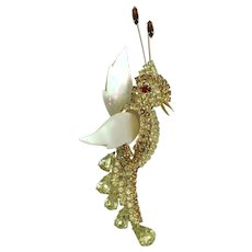 Vendome Bird Brooch Mother of Pearl Red Brown Champagne Rhinestone Vintage Pin