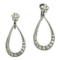 Art Deco Sterling Silver Paste Flower Teardrop Screw Back Earrings