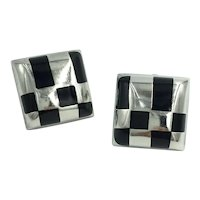 Sterling Silver Onyx Inlaid Black Gemstone Geometric 925 Mexico Clip Earrings