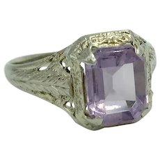 Antique 14K White Gold Filigree Amethyst Purple Lavender Gemstone Ring