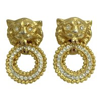 Kenneth Lane Lion Door Knocker 1960's 1970's Clip Earrings Vintage Early Rare KJL