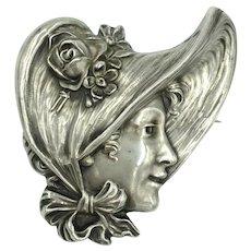 Antique Unger Bros. Sterling Art Nouveau Repousse Victorian Woman Girl Bonnet Portrait Pin Brooch