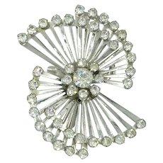 1940's 1950's Coro Signed Rhinestone Starburst Vintage Pin Rhodium Plated Brooch