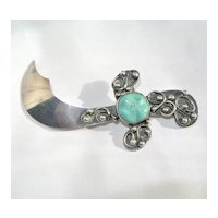 Sterling Silver & Turquoise Saber Sword Pin
