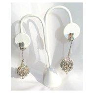 Vintage Rhinestone Crystal Ball and Faux Pearl Long Earrings