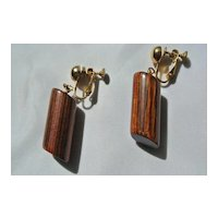 Mid Century Miriam Haskell Designer Wood Clip Earrings
