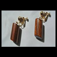 Mid Century Miriam Haskell Designer Wood Clip Earrings