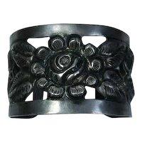 900 Silver Repousse Flower Cuff  Bracelet Mexico