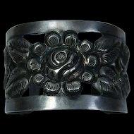Repousse Cuff  900 Silver Mexico Designer Flower Bracelet