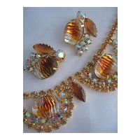 Amber Color Rhinestone Necklace and Earring Set