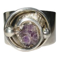 Modernist Cuff Bracelet A D Design Denmark Amethyst Geode