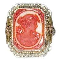 Orange Cameo Seed Pearl 14K Gold Antique Filigree Ring