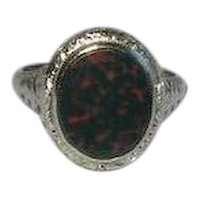 18K Bloodstone White Gold Filigree Ring