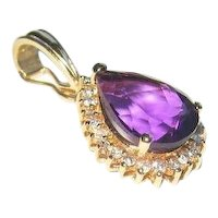 Amethyst & Diamond Enhancer Pendant 14K