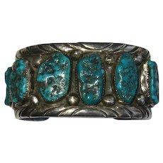 Sterling Turquoise Cuff Bracelet Navajo K Spencer
