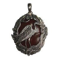 Sterling Silver Carnelian Bird Pendant