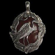 Carnelian Sterling Silver Bird Pendant