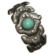 Turquoise Sterling Silver Bracelet Handmade Signed Gomez