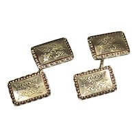 Antique 14K Cufflinks Double Sided Detailed Design