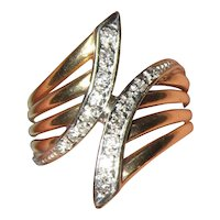 14K Diamond 1960's Cocktail Ring with Yellow and White Gold