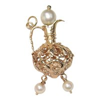 14K Gold Charm Pitcher Wine Decanter with Genuine Pearls