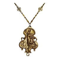 Art Nouveau Style Necklace Girl Winged Helmet by Accessocraft