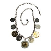 Sterling Silver Italian Lire Coin Charm Necklace