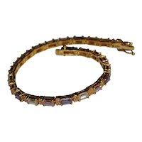 Sterling Gold Vermeil Tennis Bracelet Pink Lavender Emerald Cut CZ