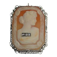 14kt Diamond Exquisite Cameo Pin Pendant